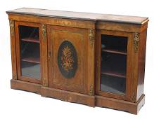 Victorian Inlaid walnut and ebonised breakfront