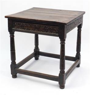 Antique carved oak table with frieze drawer, 67cm H x