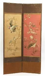 Chinese tapestry dressing screen, 178cm high x 100cm