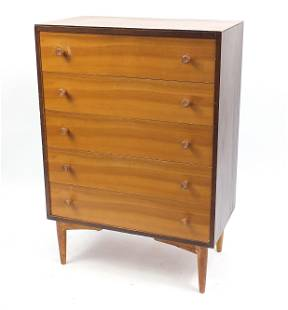 Kandya, mid century five drawer chest, 108cm H x 76cm W