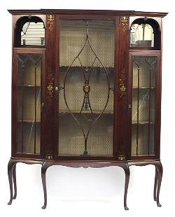 Rosewood display cabinet with brass inlay raised on