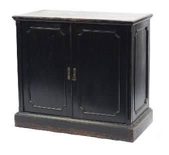 Ebonised oak two door cupboard, 95cm H x 105cm W x 54cm