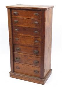 Oak seven drawer Wellington chest, 112cm H x 60cm W x