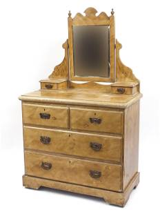 Edwardian walnut dressing table with mirrored back,