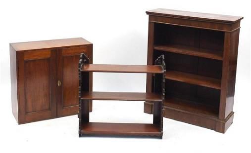 Mahogany occasional furniture comprising open bookcase,