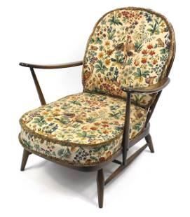 Ercol elm stick back armchair, 78cm high