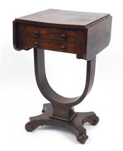 Victorian rosewood drop leaf work table with two frieze