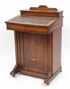 Edwardian inlaid walnut Davenport, with tooled leather