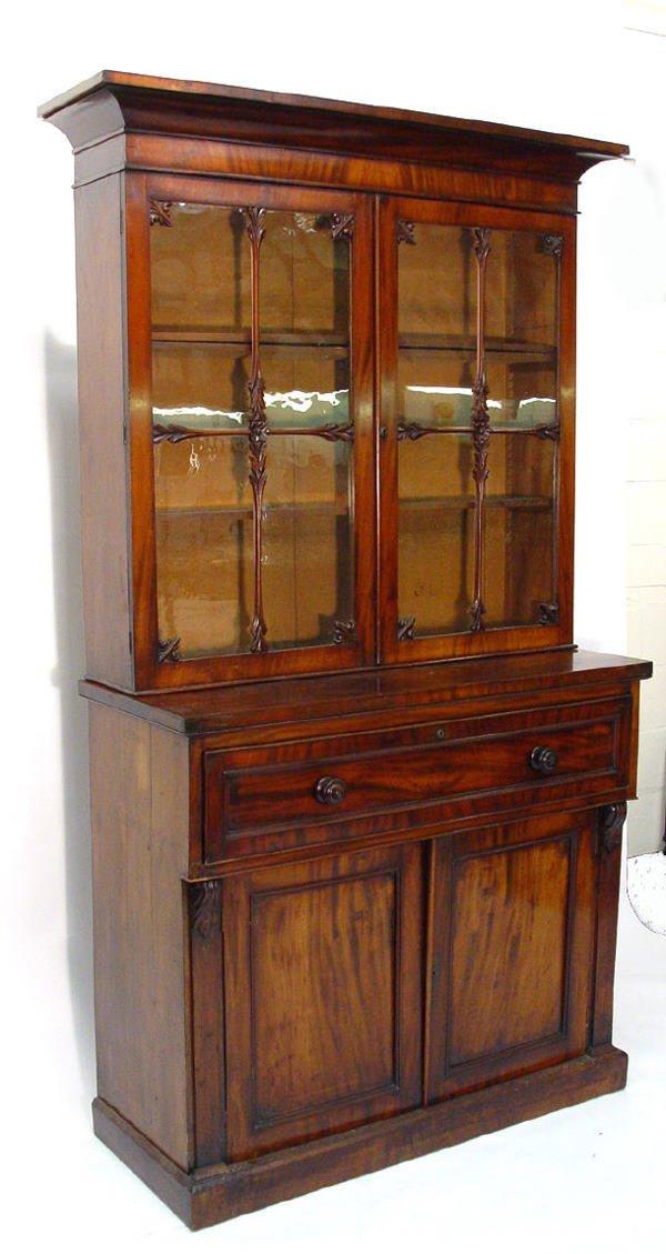 1: Early Victorian mahogany bookcase, the moulded corni