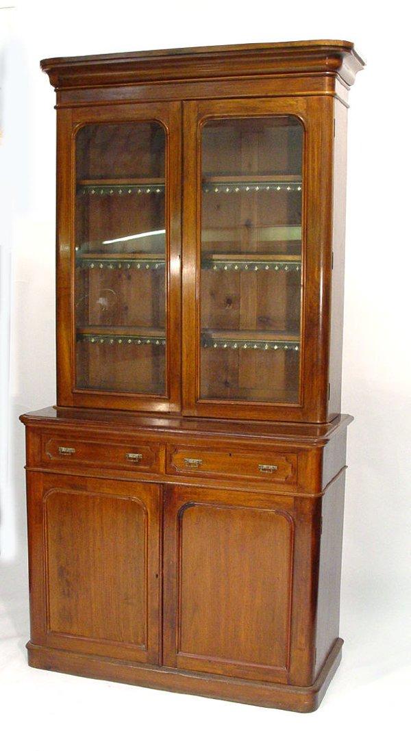 4: Victorian mahogany bookcase, the moulded cornice abo