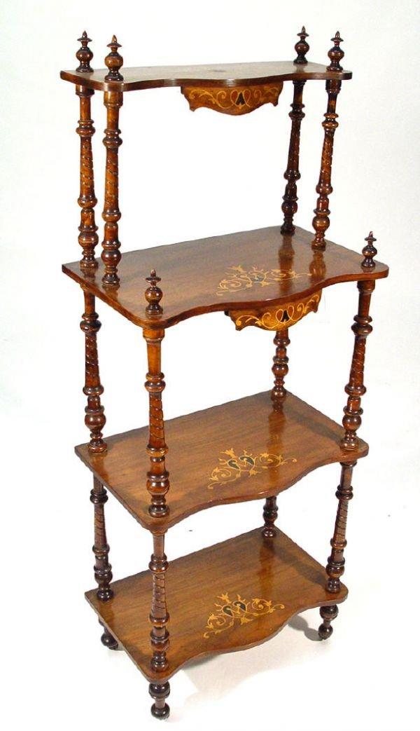 5: Victorian walnut four tier whatnot with Art Nouveau