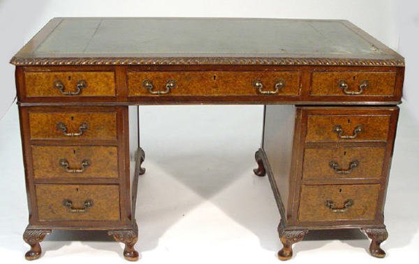 10: 1920s walnut twin pedestal desk, the top with gadro