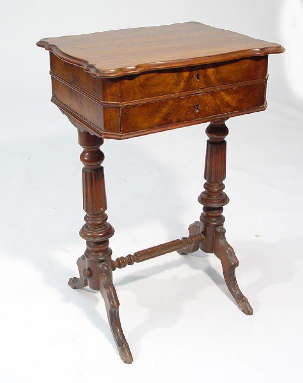 20: Victorian walnut workbox, the hinged lid enclosing