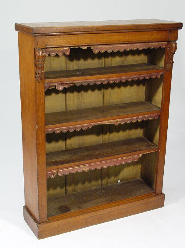22: Victorian oak open bookcase fitted three adjustable