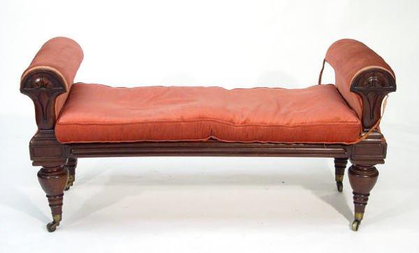 27: Victorian mahogany framed window seat with petal de