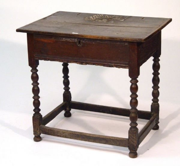 48: 18th Century oak bible table, the top with hinged l