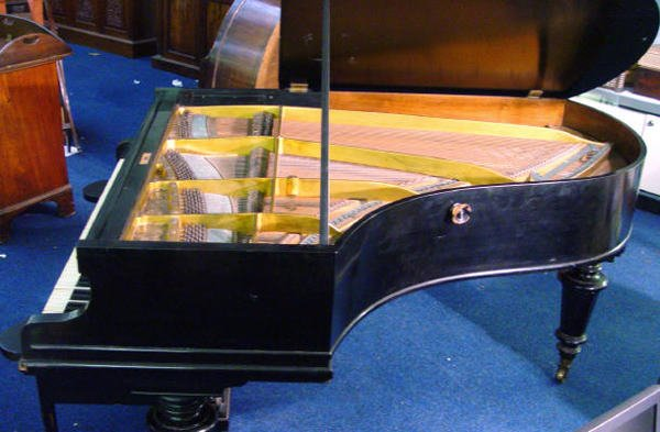 68: Ebonised C Bechstein baby grand piano with matching - 7