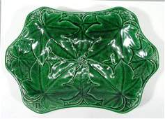 121 Shaped Victorian Wedgwood green leaf Majolica plat