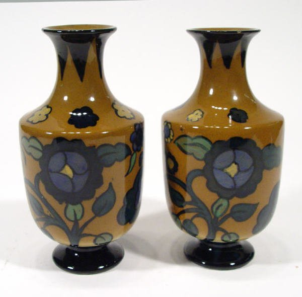 274: Pair of Royal Cauldon Cairo ware vases, hand paint