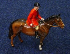 Hand Painted Beswick Huntsman On Brown Horseback,