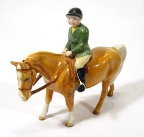 Hand Painted Beswick Girl On Tan Pony, Printed Fac