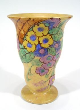 Art Deco Beswick Ribbed Vase, Painted With Flowers