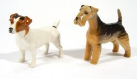 Two Hand Painted Beswick Dogs, Factory Marks To Un