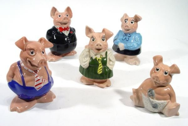 491: Set of five hand painted Natwest pig money banks,