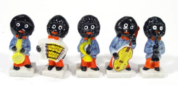 496: Five hand painted Wade golliwog musician band memb