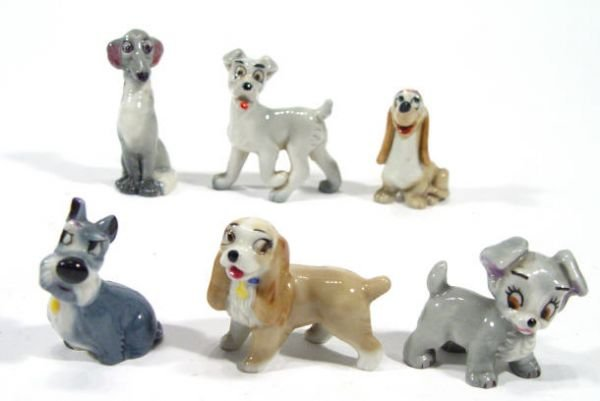 497: Group of Wade hatbox figures - Lady, Tramp, Scamp,