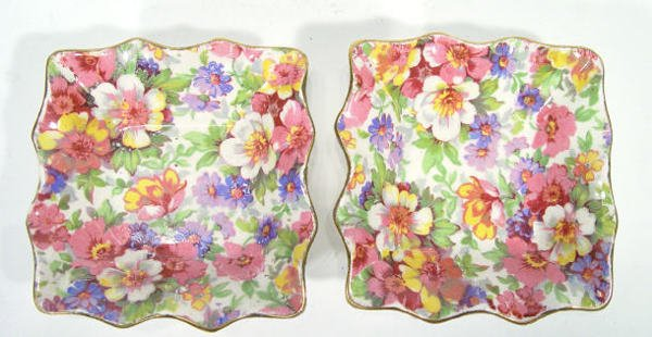 508: Pair of James Kent chintz dishes, transfer printed