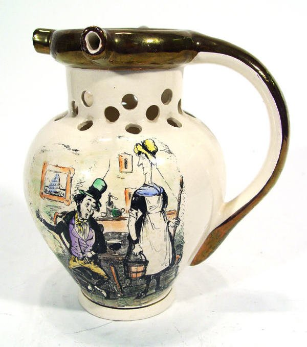 509: Grays pottery puzzle jug transfer printed with a c