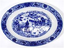 536 Ashworth oval Victorian blue and white meat plate