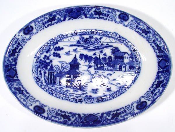 536: Ashworth oval Victorian blue and white meat plate,