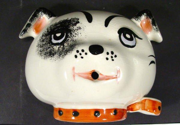 546: Hand painted Arthur Wood ceramic dog wall mask, pr