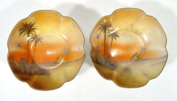 548: Two Noritake porcelain bonbon dishes, painted with
