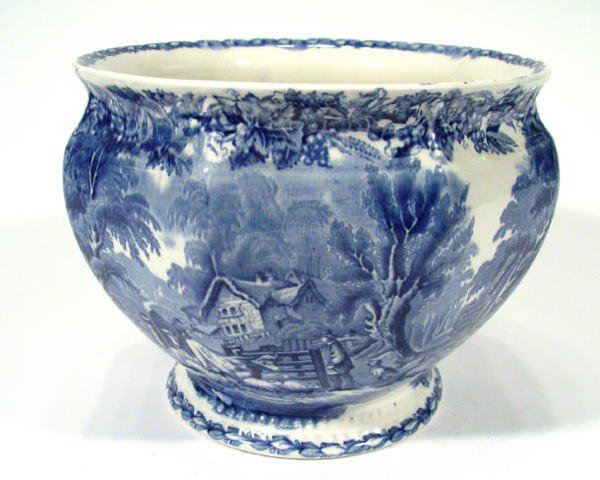 557: Booths octagonal pottery jardiniere, transfer prin