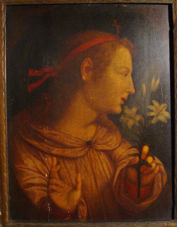 1113: 19th Century oil onto panel of a woman clutching