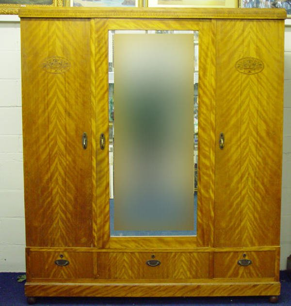 10: Victorian satinwood wardrobe, the central bevel edg