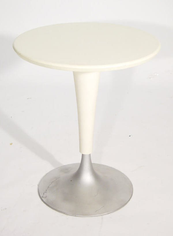 24: Philip Starck - Dr N.A. white plastic table on stee