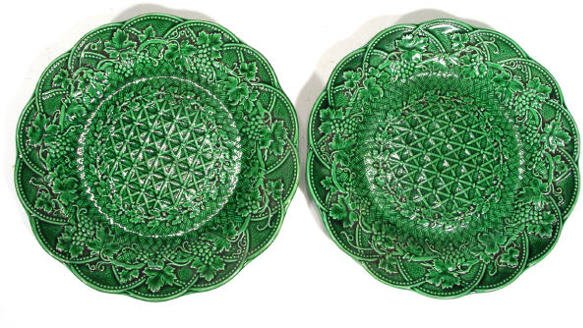 132: Two Victorian Wedgwood Majolica plates moulded wit