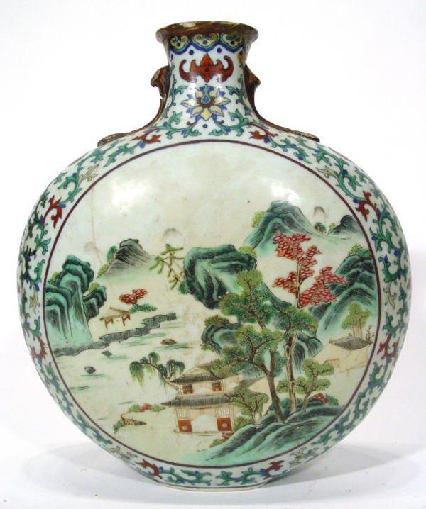 183: Famille verte moon shaped porcelain vase, hand pai