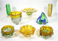 544: Group of Italian Art glass bowls and vases with am