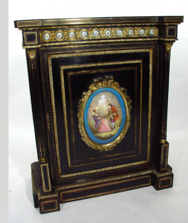3: Ebonised wooden Pier cabinet with gilt brass mouldin