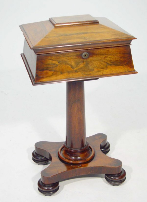 4: Victorian rosewood teapoy, the sarcophagus shaped bo