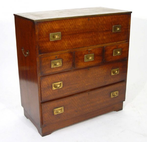 11: Mahogany secretaire chest, the top inset with a too