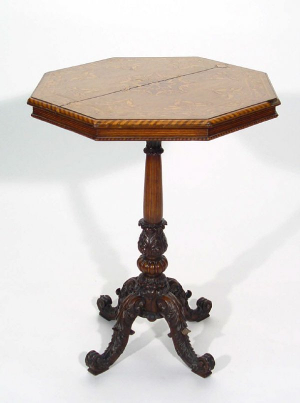 16: Victorian octagonal rosewood tripod table, the top