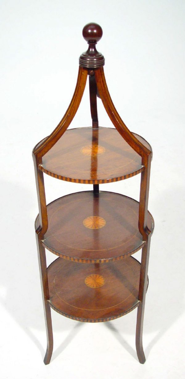 17: Edwardian inlaid mahogany three tier cake stand wit