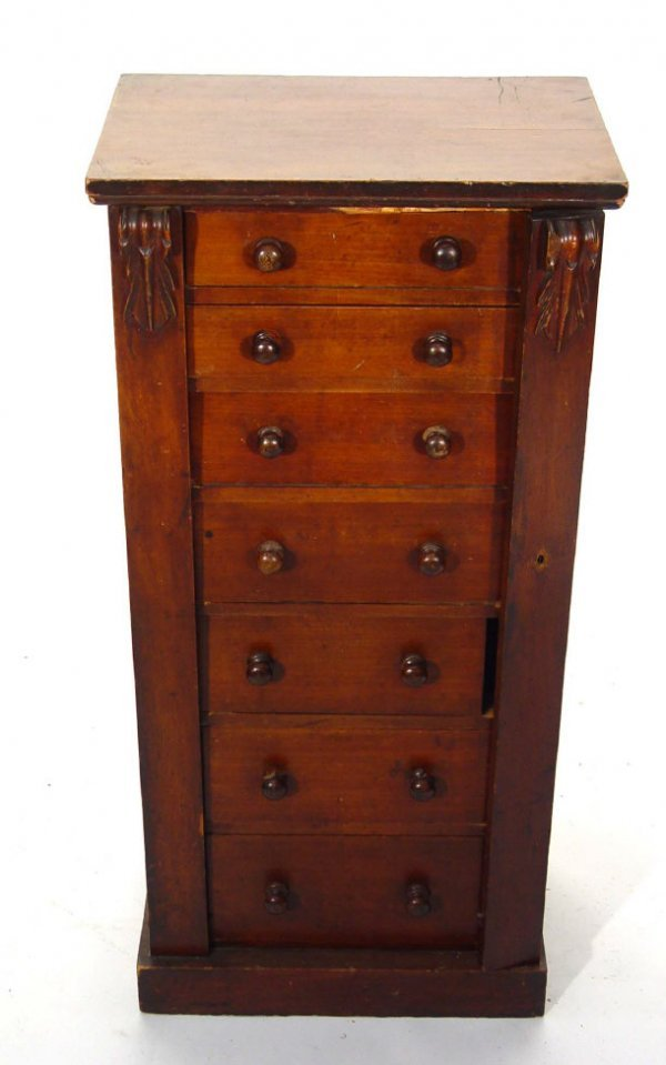 19: Victorian Mahogany Wellington chest fitted seven dr