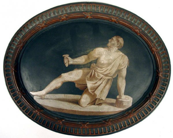 172: Oval 19th Century terracotta plaque painted with a